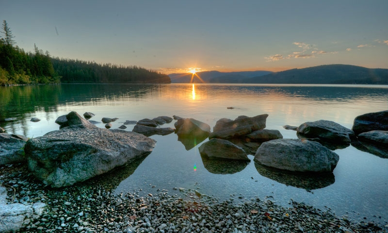 Sunset over Ashley Lake in Whitefish Montana