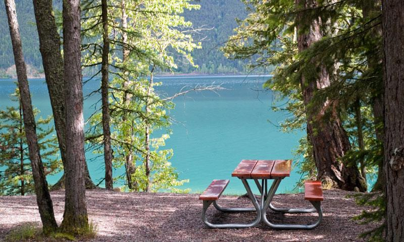 Picnic Table by Lake in Glacier National Park