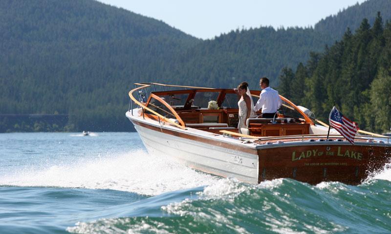 Newlyweds on Boat on Whitefish Lake