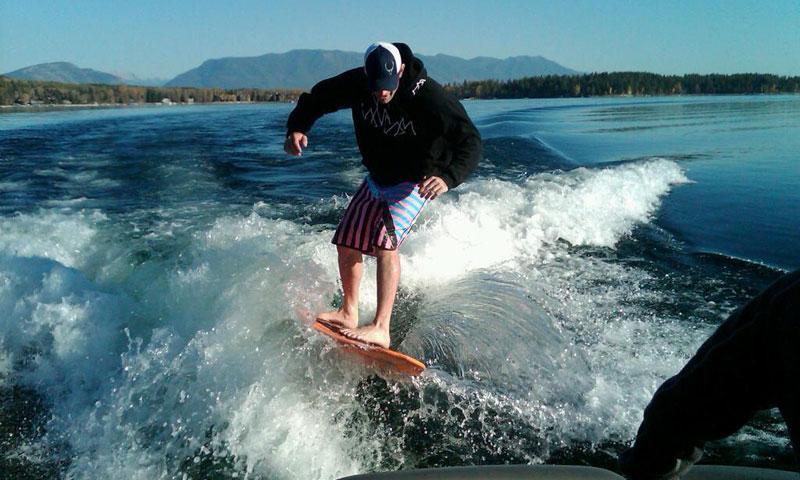 Wake Surfing on Whitefish Lake