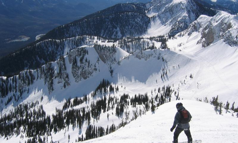 Fernie Alberta Canada Ski Resort Polar Peak Snowboarder Skiing